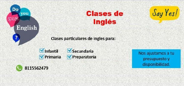 Clases de Ingles Particulares / Apoyo Escolar / A domicilio