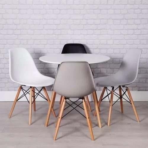 Set Mesa Eames 80cm + 4 Sillas - Envíos En 11 Días!