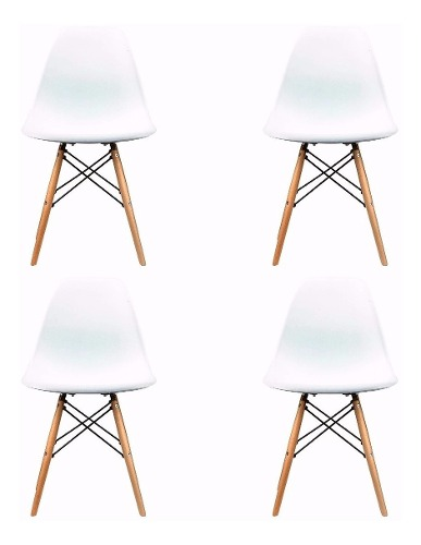 Silla Eames Set 4 Sillas Blanco/negro! Envios 12 Dias!