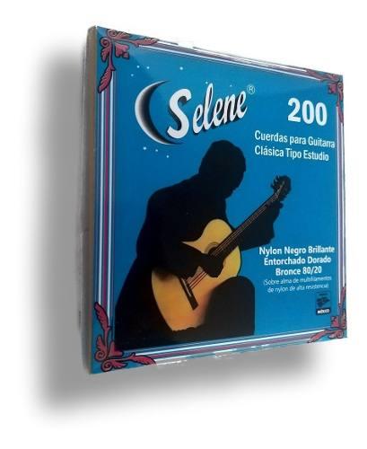 Juego De Cuerdas Para Guitarra Nylon Negro Selene 200