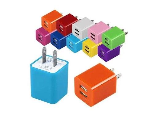 Adaptador Cubo Cargador De Pared 2.1a 2 Puertos Usb Colores