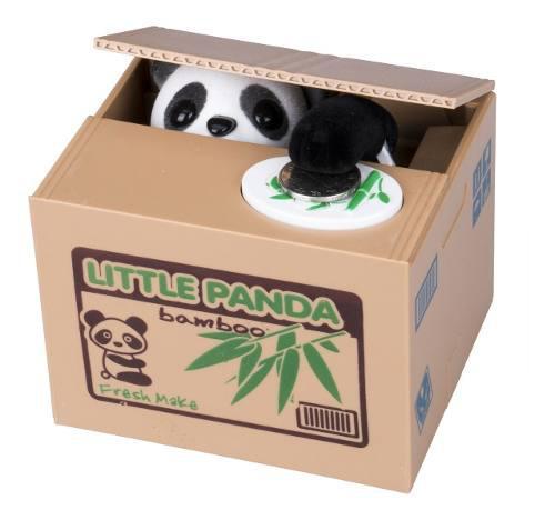 Alcancía Panda Roba Monedas Con Sonido Caja Bambú + Envio