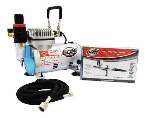 Kit Aerografia, Aerografo Profesional + Compresor 9201 Goni