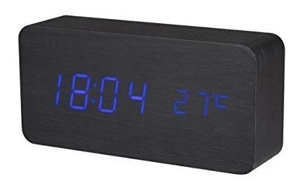 Reloj Despertador Minimalista Bloque Bambú Madera Digital