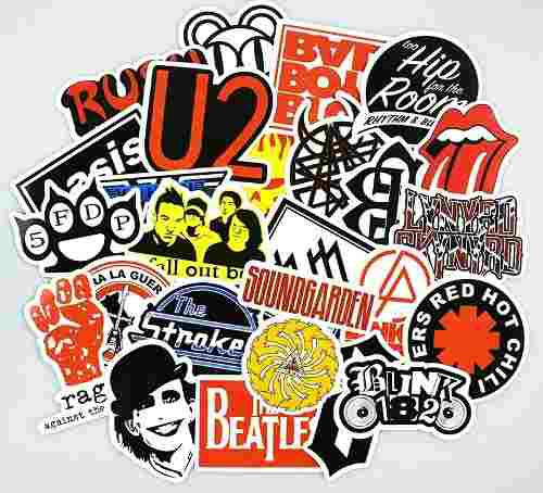 Rock Metal 50 Calcomanias Stickers Pvc Contra Agua