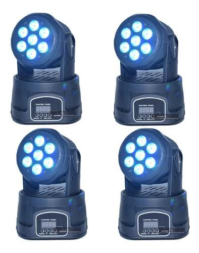 Set De 4 Cabeza Movil Wash Led 7 Led 15w Robotica Disco Dmx