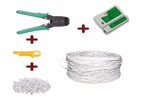 Bobina Cable Utp Cat 5e 100m+ 100rj45+tester+ Pinzas+pelador