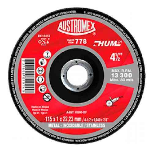 Disco Corte De Metal 4 1/2 Austromex 778 Acero Inoxidable