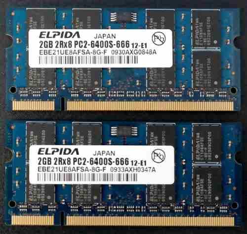 Memorias Ddr2 Kit De 4gb (2x2gb) P/laptop Elpida Pcs