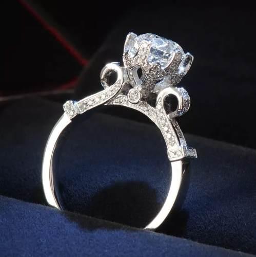 Anillo Compromiso Con Diamante Plata.925 Boda Joyeria
