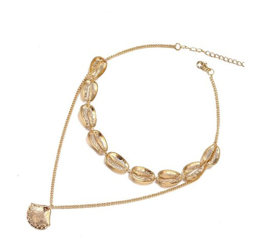 Collar Choker Doble De Conchas Color Dorado Mujer Fantasia