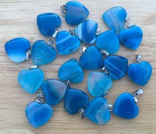 Corazón Cuarzo Ágata Azul Dije Unisex Tamaño 2cmx2cm
