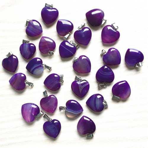 Corazón Ágata Purpura Dije Unisex Tamaño 15mm