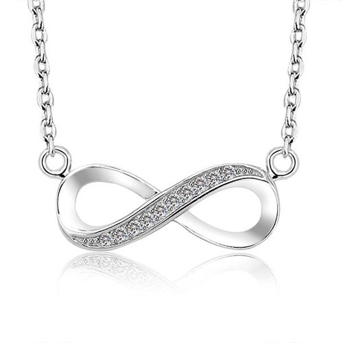 Fino Collar Amor Infinito Cadena Plata 925 Swarovski Novia