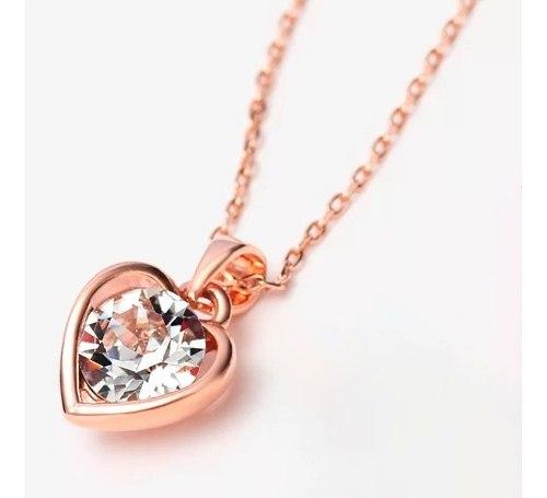 Precioso Collar Corazón Swarovski Oro Rosa 14k Lam +