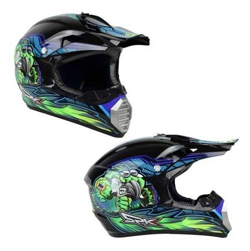 Casco Tipo Cross Danger Prey Azul Verde Dot Tallas