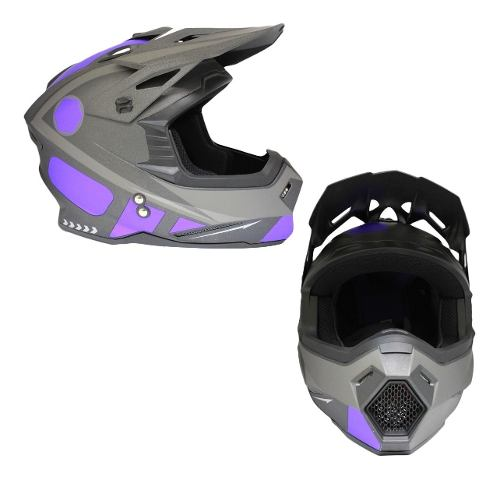 Casco Tipo Cross Reloaded Negro Mate Azul Dot Tallas