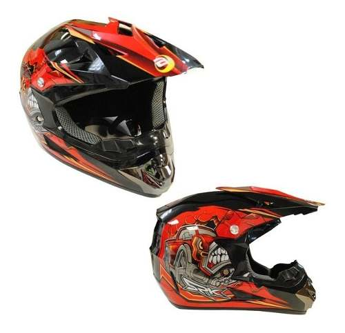 Casco Tipo Cross The Beast Dot Rojo Negro Tallas