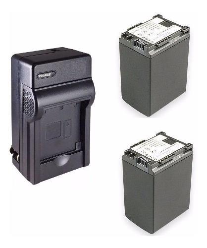 Kit 1 Cargador + 2 Baterias Bp-827 Para Video Camara Canon