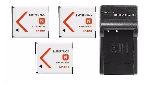 Kit Cargador + 3 Baterias Np-bn1 Para Sony
