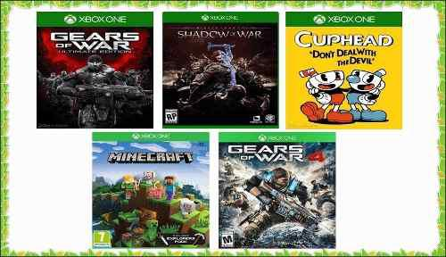 Pack 5 Juegos Para Xbox One Minecraft, Gears, Cuphead Etc.