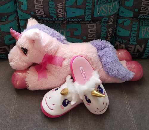 Pantunflas De Unicornio Talla 13 Y Peluche Grande De 60 Cm