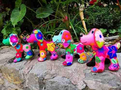 Perrito Artesanal Bordado A Mano/multicolor Hecho En Chiapas
