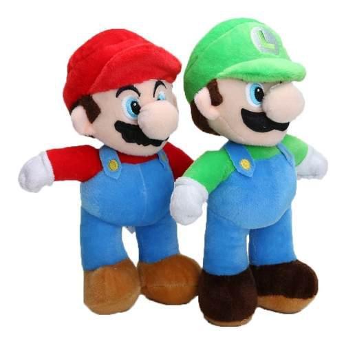 Set 2 Peluches Super Mario Bros Y Luigui 25cm Figuras Suaves