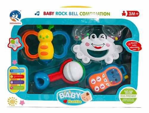 Set Sonaja Móvil Para Bebé Rock Bell 4 Piezas Lb-0687