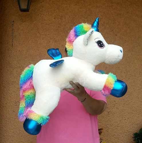Unicornio Pony Pegaso Con Alas Azules Fino 65 Cm