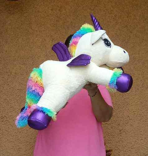 Unicornio Pony Pegaso Con Alas Moradas Peluche Fino 65 Cm