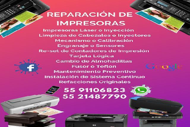 servicio y reparacion de impresoras, lÁser o inyecciÓn