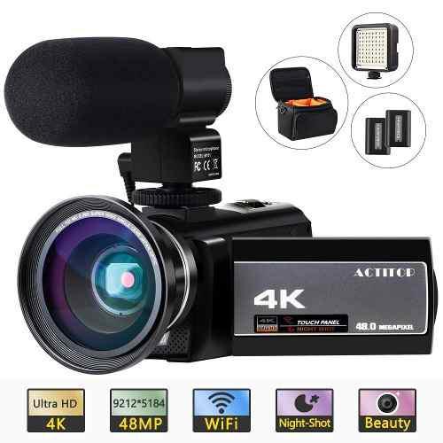Actitop Videocámara 4k Wifi Digital Uhd De 48 Mp