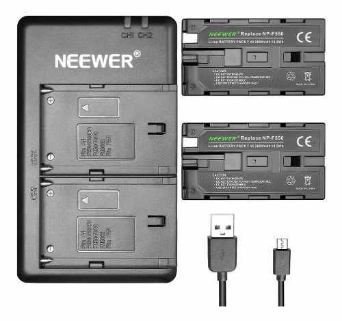 Kit 2 Baterias Np-f550 + Cargador Doble Camara Y Lampara Led
