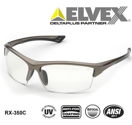 Lentes De Seguridad Elvex Rx-350 Con Aumento Bifocal De +1.5
