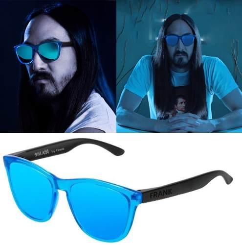 Lentes De Sol Polarizado Frank X Steve Aoki Gafas Neon Blue