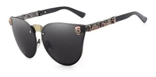 Lentes Gafas Sol Cat Eye Mujer Calavera Skull Negro Hombre