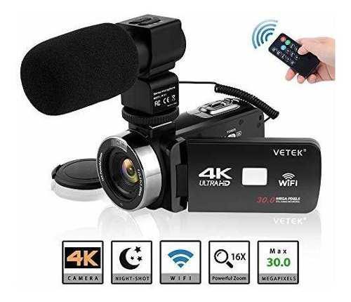 Videocámara Vetek 4k Ultra Hd 16x Zoom Vlogging -negro