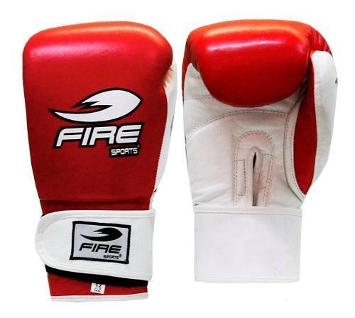 Guantes De Box 18oz Fire Sports 100% Piel Rojo