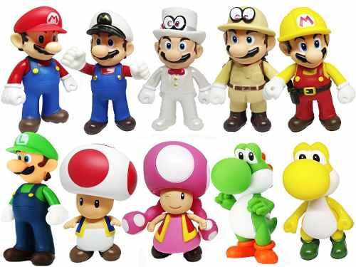 Mario Bros Yoshi Toad Luigi 1 Muñeco De 12 Cm Articulado
