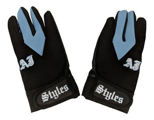 Wwe Aj Styles Guantes Color Negro Con Azul Nuevos Originales