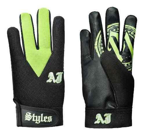 Wwe Aj Styles Guantes Color Negro Con Verde Nuevos Original