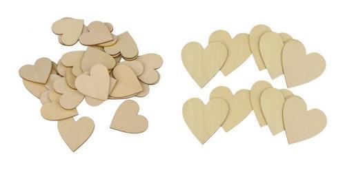 25 Piezas De Madera En Forma De Corazón De 50 Mm + 10