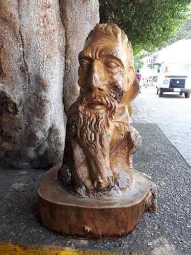 Escultura De Quijote,sancho Y Caballo,tallado En Madera47cm