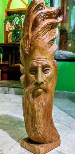 Escultura Dios Del Viento Tallado A Mano Madera De Cedro