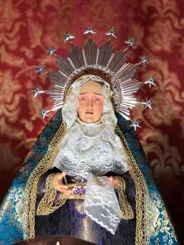 Figura Virgen Dolorosa Para Vestir Tallada En Madera 52cm