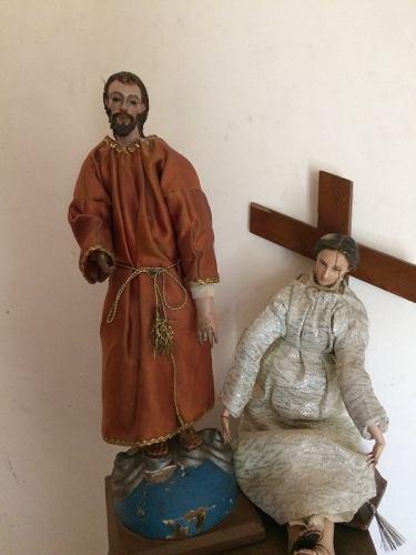 Figuras Antiguas De Madera Maria Y Jose