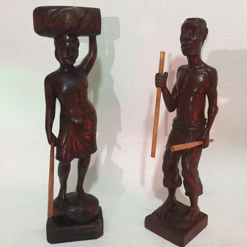 Hermosas Esculturas Africanas En Fina Madera Talladas A Mano