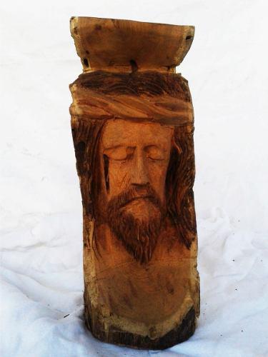 Hermosos Rostro De Cristo Tallado En Madera 32cm Altox16diam