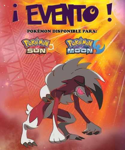 Lycanroc Nocturno - Evento - Pokémon Sol Luna Sun Moon 3ds!